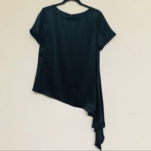St. John Liquid Silk Satin Asymmetrical Blouse